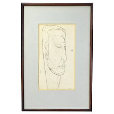 Mid-Century Modern Abstract Drawing Portrait Man Elongated Head sgnd Caplow