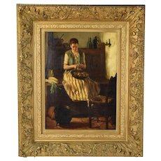 Circa 1900 Dutch Oil Painting Interior Young Woman Peeling Vegetables Adriaan de la Riviere