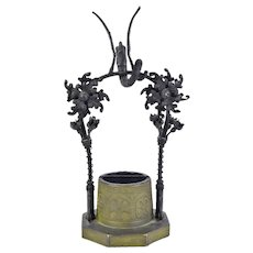 1930's German Pottery Wrought Iron Well Planter w Dragon Gunther Laufer Eisenach
