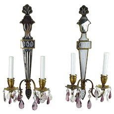 Pair of Venetian Style Torch Shape Mirror Back Sconces with Crystal Lusters