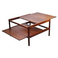 Vintage Mid-Century Danish Modern Teak Sliding Top and Shelf Coffee Cocktail Table
