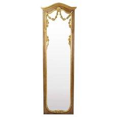 Vintage Italian Gilt Wood Full Length Wall Mirror w Floral Swags