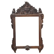 LaBarge Antique Style Heavily Carved Wood Mirror Urn and Swag Motif