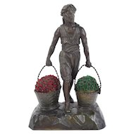 1920's German Spelter Bronze Lamp Arab Carrying Baskets of Czech Glass Flowers