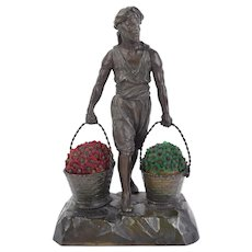 1920's German Spelter Bronze Lamp Arab Carrying Baskets of Czech Glass Flowers
