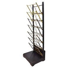 Vintage Mechanical Folding Brass and Ebonized Wood Standing Magazine Display Rack