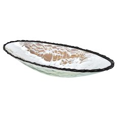 Scott Amrhein 33in Lumen Bowl Elliptical Translucent Art Glass Console Center Bowl