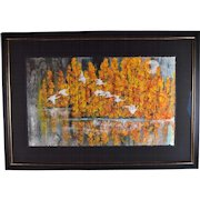 Yongqun Guo Painting Cranes Flying Against Autumn Trees Chinese American artist