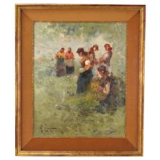 Vintage Impressionist Oil Painting Woman Harvesting Wildflowers Signed