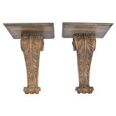Pair Italianate Hand Carved Wood Corbel Scroll Wall Bracket Shelves