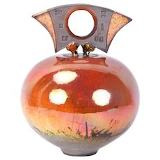 Bob Smith Raku Sculpture Art Pottery Vessel w Sculptural Lid Colorado artist