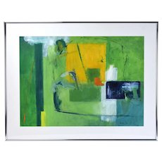 Vintage Mid-Century Modern Geometric Abstract Oil Painting Signed Koltun