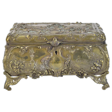 Antique French Louis XV Style Bronze Jewelry Box Casket