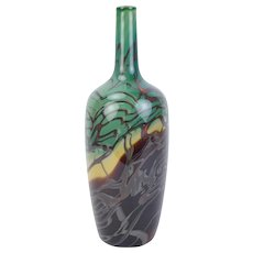 2007 Hand Blown Studio Art Glass Bottle Swirl Pattern Signed