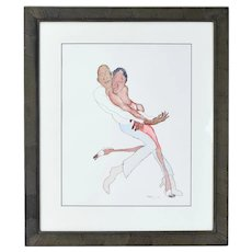 Jules Feiffer Original Watercolor Painting African-American Couple Dancing