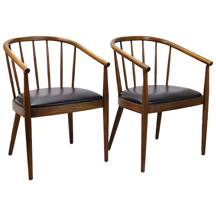 Pair Mid Century Bentwood Chairs Armchairs Lawrence Peabody For Richardson  Nemschoff
