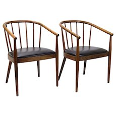 Pair Mid-Century Bentwood Chairs Armchairs Lawrence Peabody for Richardson Nemschoff