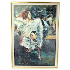 Dutch Impressionist Oil Painting Cabaret w Can-Can Dancers sgnd Van Der Beesen