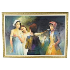 Vintage Mid-Century Oil Painting Hippie Women with Straight Women sgnd Lanier