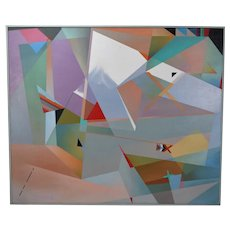 Huge 1980's Geometric Abstract Oil Painting Dina Herrmann New York Artist