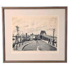 "1940's Industrial Cleveland Ohio Etching ""Columbus Road Ramp"" Martin Linsey"