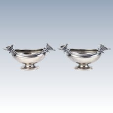 Pair Gorham American Coin Silver Figural Open Salts Circa 1860