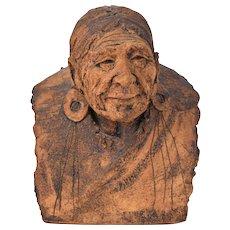 """Teller of Winter Tales"" Jean Juhlin Art Pottery Sculpture Native American Woman"