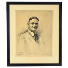 1920's Etching Legal Scholar Roscoe Pound Harvard Dean signed dedicated