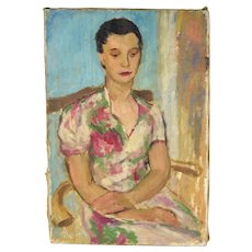 Circa 1940's Lars Birger Sponberg Oil Painting Portrait Woman Floral Dress