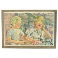 Vintage 1960's Lars Birger Sponberg Oil Painting Two Blonde Girls