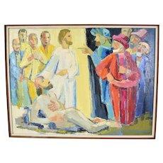 1970s Lars Birger Sponberg Painting Jesus Healing Blind Bartimaeus at Jericho