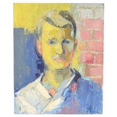 Circa 1970's Lars Birger Sponberg Oil Painting Portrait Young Man Brick Wall