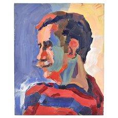 Circa 1970's Lars Birger Sponberg Oil Painting Portrait Man w Mustache