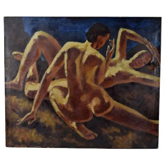 Kenneth Shopen Circa 1930's Oil Painting Nudes in Repose