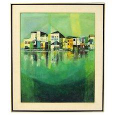 Vintage Mid-Century Modern Painting Cubist Waterside Houses Bernard Chicago