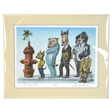 """Curt Frankenstein """"The Slow-Poke"""" Hand Colored Etching Dog People Peeing"""