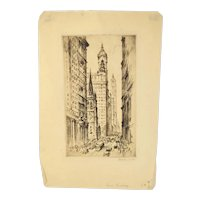 1927 Etching Lower Broadway New York City signed Nat Lowell