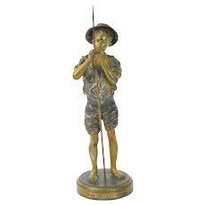 "French Spelter Bronze Sculpture ""Le Petit Pecheur"" After Adolphe Lavergne"