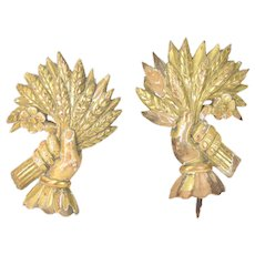 Antique Pair Carved Gilt Wood Architectural Furniture Elements Hands w Sheaf Wheat