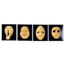 Set 4 Hand Carved Balinese Kabuki Dance Masks by Master Carver Ida Bagus Anom