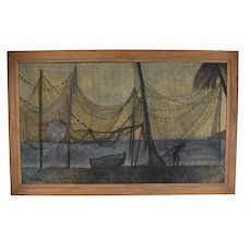 Vintage Mid-Century 1950's Haitian Oil Painting Fisherman w Nets de Buren