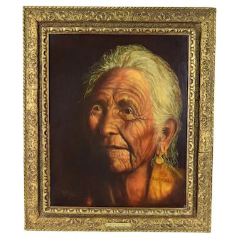 Vintage Finely Rendered Oil Painting Native American Woman