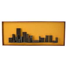Vintage Mid-Century Modern Metal Architectural Model Wall Sculpture