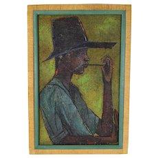 Vintage Mid-Century 1950's Haitian Oil Painting Man in Floppy Hat de Buren