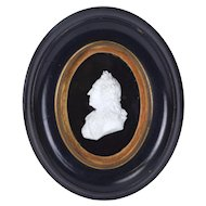 Antique Miniature Portrait in Carved Alabaster Marble Signed Profile of Noble