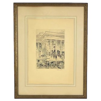 1920's Hand Colored Etching Reporters Swarming Courthouse Awaiting Verdict Veder