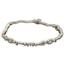 """Vintage Estate 18k Solid White Gold Diamond Pave """"LOVE"""" link Bracelet"""