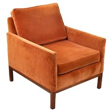 Vintage Mid-Century Modern Club Armchair Orange Velvet