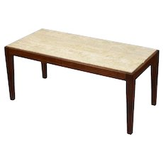 Vintage Mid-Century Modern Travertine Marble Top Coffee Cocktail Table
