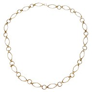 Tiffany 14k Solid Gold Succo Large Rope Twist Oval & Circle Link Necklace